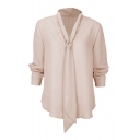 Womens Stylish Simple Solid Color Tied V-Neck Long Sleeve Casual Chiffon Top