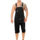 Mens New Vintage Distressed Ripped Fitted Denim Bib Overalls