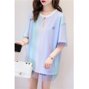 Summer Popular Cartoon Ice Cream Planet Printed Stylish Layer Mesh Patched Oversized Longline T-Shirt