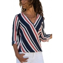 Hot Popular Surplice V-Neck Long Sleeve Striped Chiffon Blouse Top