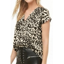 Womens Summer Fashion Black Leopard Pattern V-Neck Short Sleeve Casual Tee