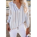 Hot Popular Vertical Stripe Printed V-Neck Long Sleeve Casual Blouse Top