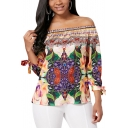 Summer Unique Fashion Floral Printed Sexy Off the Shoulder Bow-Tied Cuff Blouse Top