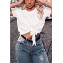 Womens Street Fashion Round Neck Short Sleeve Knotted Hem Cropped White T-Shirt