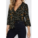 Unique Chain Pattern Long Sleeve Casual Loose Button Down Chiffon Shirt