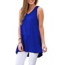 Summer Women's Simple Plain V-Neck Sleeveless Casual Loose High Low Tank Top