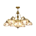 Frosted Glass Dome Chandelier Dining Room 8 Lights Elegant Style Ceiling Light with Flower Decoration