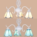 3 Lights Cone Chandelier Mediterranean Style Glass Pendant Lighting in Blue/White for Bedroom