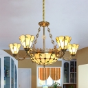 Dining Room Dome Cone Pendant Lamp with Leaf Decoration Stained Glass 7 Lights Antique Style Chandelier