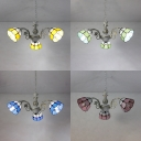 Antique Style Dome Chandelier Stained Glass 3 Lights Blue/Green/Pink/Yellow Hanging Light for Foyer