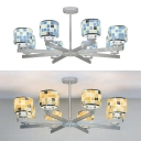 8 Lights Drum Chandelier Mosaic Shell Glass Hanging Lamp in Blue/Yellow for Dining Room Villa