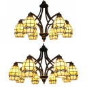 Restaurant Dining Room Chandelier Stained Glass 6/8 Lights Tiffany Style Beige Pendant Lighting