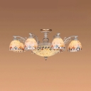Tiffany Style Dome Chandelier Color Shell Glass 11 Lights Hanging Light for Living Room Villa