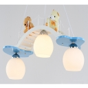 Cute Bridge Bear Pendant Lamp 3 Lights Wood Glass Hanging Lamp in White for Boy Girl Bedroom