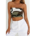 Summer New Trendy Camouflage Printed Sleeveless Green Cropped Bandeau Top