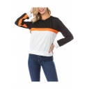 New Stylish Women's Colorblock Patchwork Round Neck Long Sleeve Sweatshirt