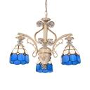 Mediterranean Style Blue Chandelier Cone Shade 3 Lights Glass Suspension Light for Hallway