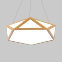 Modern Pentagon Suspension Light Eye-Caring Acrylic White Ceiling Light in Neutral/Warm/White for Office