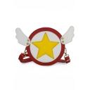 Stylish Color Block Pentagram Pattern Wing Rivet Embellishment Round Crossbody Shoulder Bag 16*16*5 CM
