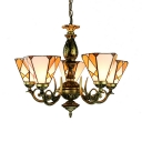 Stained Glass Cone Pendant Light 5 Lights Tiffany Style Rustic Chandelier in Yellow