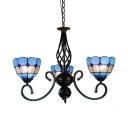 3 Lights Dome Shade Chandelier Mediterranean Style Glass Hanging Lamp in Blue for Study Room