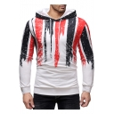 Mens New Trendy Colorblock Long Sleeve Slim Fit White Hoodie