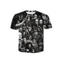 Men's Hot Fashion Terror Skull Short Sleeve Round Neck 3D Figure Print Black Basic T-Shirt