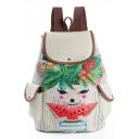 Cute Cartoon Printed Beige Travel Bag School Backpack with Side Pockets 28*11*39 CM