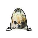 Fashion Creative 3D Dog Printed Dark Green Drawstring Backpack 30*39 CM