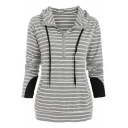 Fashion Women's Stripe Print Half-Zip Front Drawstring Hood Patched Long Sleeve Hoodie