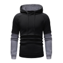 Men's Fashion Plain Colorblock Long Sleeve Fake Two-Piece Drawstring Hoodie