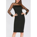 Womens New Fashion Star Mesh Patched Long Sleeve Round Neck Black Midi Pencil Dress