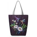 National Style Floral Birds Pattern Dark Purple Canvas Shoulder Bag 27*11*38 CM
