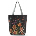Unique Fashion Floral Butterfly Printed Black Shoulder Bag 27*11*38 CM
