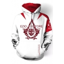 EZIO AUDIRORE Letter Skull Printed Colorblock Long Sleeve Loose Fitted White Drawstring Hoodie