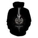 Black 3D Magic Circle Sword Printed Drawstring Long Sleeve Hoodie with Pocket