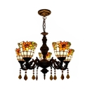 Sunflower Suspension Light 5 Lights Rustic Style Stained Glass Chandelier with Crystal for Living Room