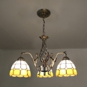 Vintage Style Dome Chandelier with Mermaid Decoration 3 Lights Glass Ceiling Light for Bathroom Stair