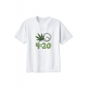 4:20 Number Letter Clock Leaf Printed White Round Neck Short Sleeve Tee
