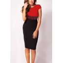 Women's Colorblock Lace Patched Round Neck Cap Sleeve Midi Pencil Dress