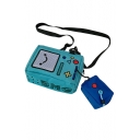 Light Blue Cute Cartoon Game Console Portable Canvas Crossbody Bags 18*13*7.5cm