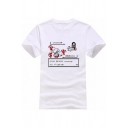 New Arrival Short Sleeve Round Neck Cartoon Letter JON SNOW WANTS TO FIGHT Printed White Graphic Tee