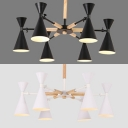 Matte Black/White Hourglass Chandelier 6 Lights Nordic Style Metal Ceiling Light for Dining Room