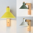 Modern Macaron Green/Yellow/White Cone 1 Light Metal Wood Rotatable Sconce Light for Hallway