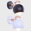 Restaurant Globe Wall Light Metal 1 Light Contemporary Black/White Rotatable Sconce Light