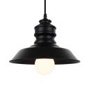 Barn Shade Balcony Pendant Light Metal Industrial Hanging Light in Black