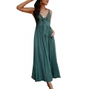 Summer New Stylish Spaghetti Straps Sleeveless Plain Cutout Detail Maxi Cami Linen Dress