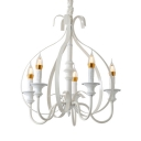 Traditional Fake Candle Pendant Light Metal 5 Lights White Chandelier for Living Room