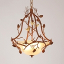 Rustic Bell Shade Hanging Light Frosted Glass 3 Lights Chandelier with Bird & Pine Cone for Balcony