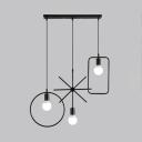 3 Lights Wire Frame Pendant Light Industrial Metal Hanging Lamp in Black for Living Room